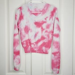 Hooked Up Tie Dye V Neck Sweater Top